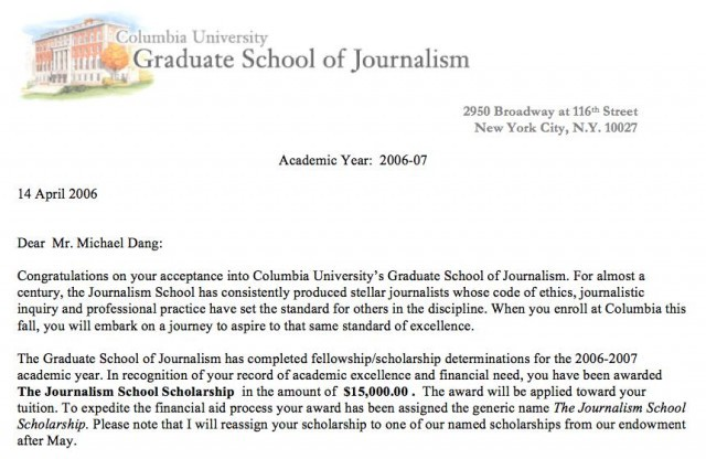 Columbia Acceptance Letter.Always Ask For More Money The Billfold