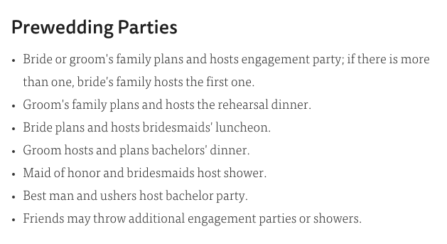 How old is too old to ask your parents to pay for your wedding also there are so many parties leading up to the party that just looking at the list makes me want to put my feet up junglespirit Choice Image