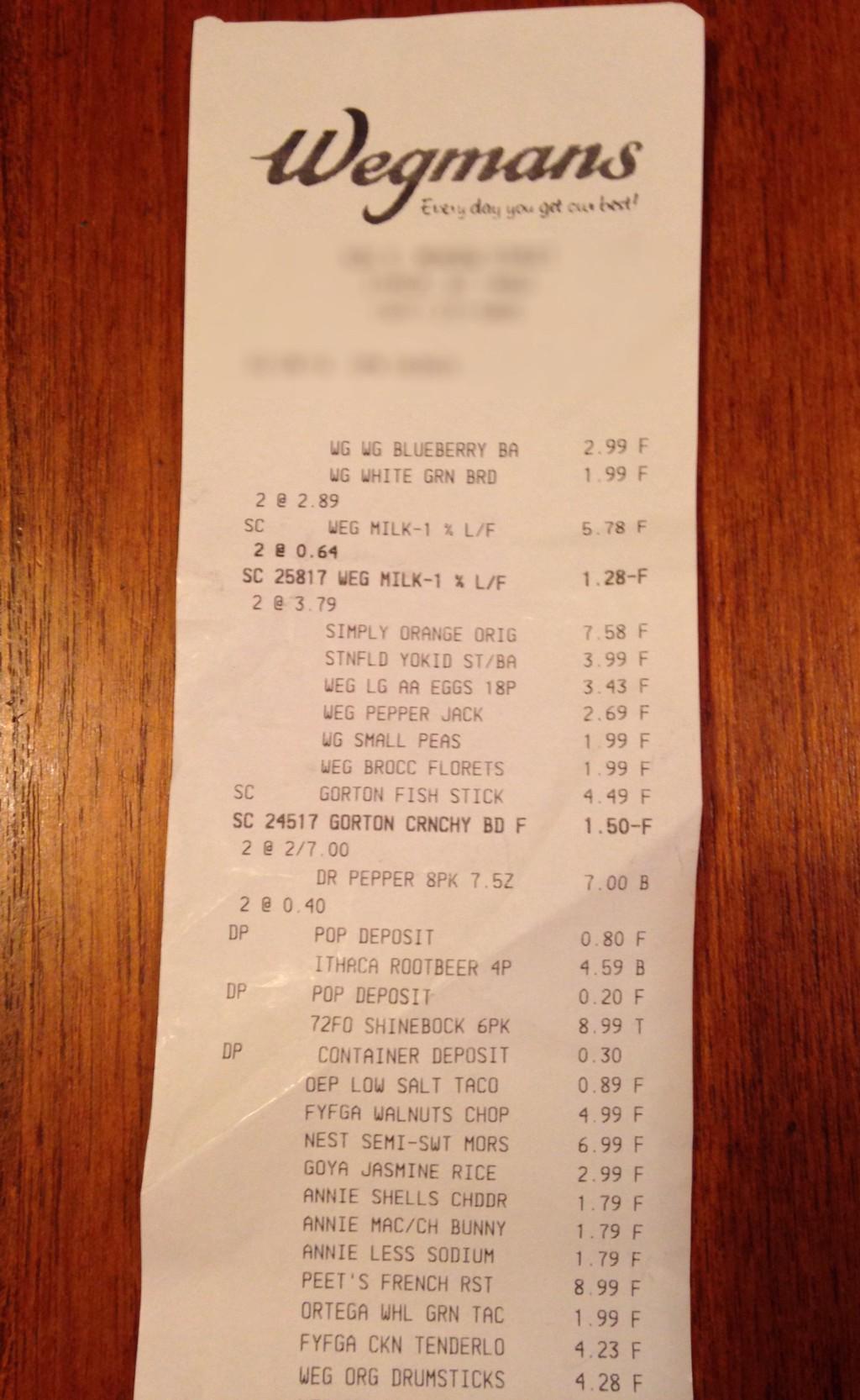 Show us your grocery receipts part six wegmans the for Wegmans fish fry